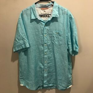 Tommy Bahama relaxed button down shirt linen blue